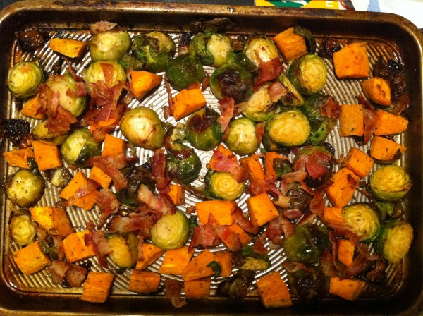 brussel sprouts, bacon, sweet potatoes