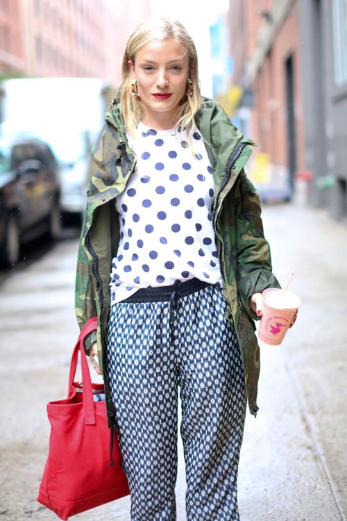 mix patterns, polka dots, camo, print mix