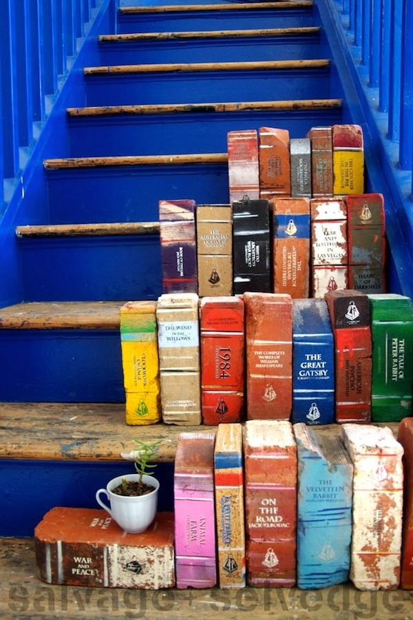 decorate bricks, fake books